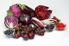 Vegetables and fruits purple colored Stock Photo