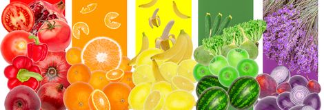Vegetables Fruits Rainbow Pattern Background Isolated Copyspace Royalty Free Stock Photo