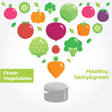 Vegetables and fruits round flat icons in heart. Fresh green and healthy food stock illustration