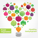 Vegetables and fruits round flat icons in heart. Fresh green and healthy food vector illustration