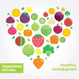 Vegetables and fruits round flat icons in heart. Fresh green and healthy food Stock Image