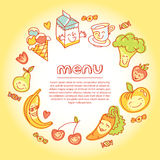 Vegetables and fruits round flat icons in heart. Vector modern illustration, stylish design element royalty free illustration