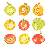 Vegetables and fruits round flat icons in heart. Vector modern illustration, stylish design element Royalty Free Stock Images