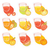 Vegetables and fruits round flat icons in heart Stock Images