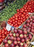 Vegetables and fruits for sale in a market Royalty Free Stock Photo