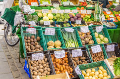 Vegetables and Fruits on Sale Stock Photo