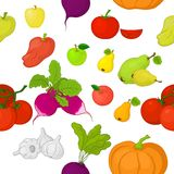 Vegetables and fruits, seamless background Royalty Free Stock Photos