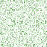 Vegetables and fruits Seamless hand drawn doodle pattern. Vector illustration for backgrounds, card, posters, banners, textile prints, cover, web design stock illustration