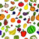 Vegetables and fruits seamless pattern background. Colorful template for cooking, restaurant menu and vegetarian food vector illustration