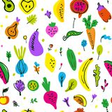 Vegetables and fruits seamless pattern, funny sketchy design. Vector  illustration. Vegetables and fruits seamless pattern, funny sketchy design. Vector graphic royalty free stock image