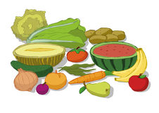 Vegetables and fruits set. Selection of some vegetables and fruit vector illustration