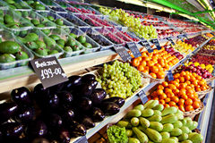 Vegetables and fruits in supermarket Royalty Free Stock Photography