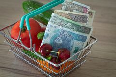 Vegetables and fruits in the shopping basket along with Polish money / the concept of food price increase. Vegetables and fruits in the shopping basket along stock photography