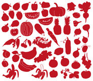 Vegetables and fruits silhouettes Stock Photography