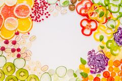Fresh vegetables and fruits frame. stock photos