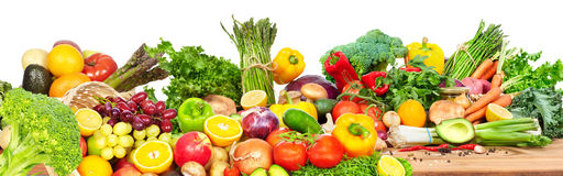 Vegetables and fruits. Vegetables fruits at the table . Dieting and food background stock image