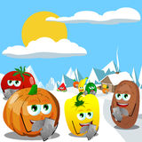 Vegetables and fruits using a smartphone in the winter mountains Stock Photos
