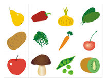 Vegetables and Fruits + vector file Stock Photos