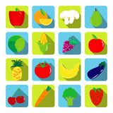 Vegetables and fruits vector icons with long shadows in flat sty Royalty Free Stock Photos