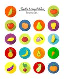 Vegetables and fruits vector round icons Stock Photo