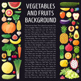 Vegetables and fruits vector vertical background. Flat design. Healthy food background. Stock Photos