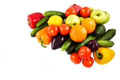 Vegetables and fruits on white Stock Photos
