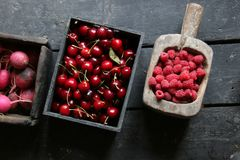 Vegetables and fruits on wood table. Healthy food idea. Cherry, raspberry and radish. Raw Organic food on an old wooden table. Or healthy food idea Royalty Free Stock Photography