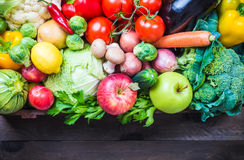 Vegetables and fruits in wooden box. Royalty Free Stock Photo