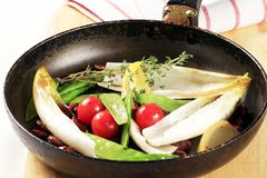 Vegetables on a frying pan Royalty Free Stock Photo