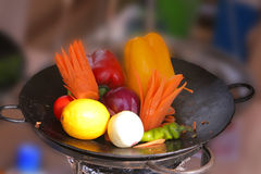 Vegetables in frying pan Royalty Free Stock Photography