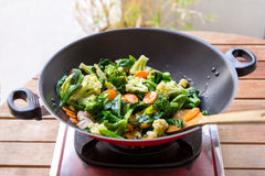 Vegetables in frying pan being cooked into capcay Stock Images