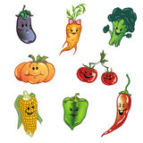 Vegetables. Fun vegetables: carrot, pepper, tomatoes and others Royalty Free Stock Photography