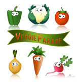 Vegetables funny and healthy. Healthy vegetables parade label with funny cartoon vegetables Stock Photos