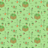 Vegetables garden seamless pattern Agriculture background. Vegetables garden seamless pattern. Agriculture, cultivation of vegetables background. Minimal design Royalty Free Stock Image