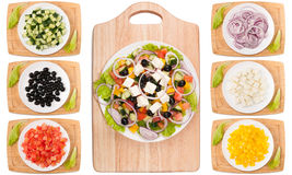 Vegetables for the Greek salad ingredient collage royalty free stock photo