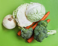 Vegetables on a green background Stock Image
