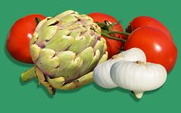 Vegetables on green background Royalty Free Stock Photography