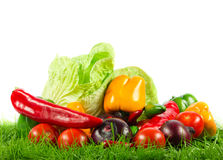 Vegetables on green gras on isolated white background healthy food Stock Images