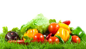 Vegetables on green gras on isolated white  background vegetarian food healthy nutrition Stock Photography