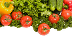 Vegetables and green verdure isolated. On white Royalty Free Stock Images