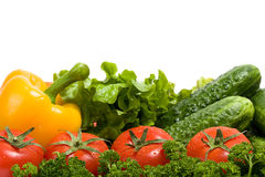 Vegetables and green verdure isolated on white. Vegetables and verdure isolated on white background Stock Photo