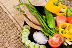 Vegetables with greenery, rye bread Stock Photo
