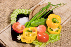 Vegetables with greenery, rye bread Royalty Free Stock Photo