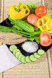 Vegetables with greenery, rye bread Royalty Free Stock Images