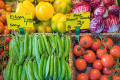 Vegetables at the greengrocery Stock Images