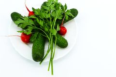 Vegetables and greens in a round plate for light salads stock image