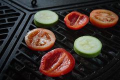 Vegetables on the grill. Barbecue. The view from the top. Stock Image