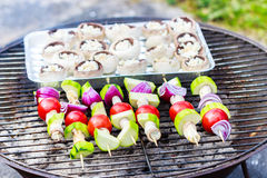 Vegetables on the grill. Outside barbecue with different vegetables on the grill Royalty Free Stock Photography