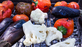 Vegetables grilled eggplant. Pepper and tomato, healthy food Stock Image