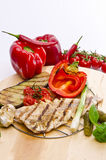 Vegetables with grilled salmon Royalty Free Stock Images